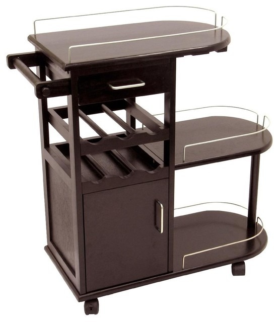 Rolling Tri Level Bar Cart With Wine Rack E Contemporary