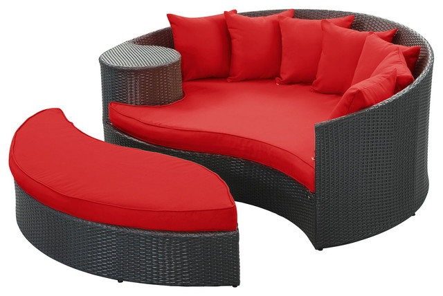 Taiji Outdoor Patio Daybed in Espresso Red modern-outdoor-chaise-lounges