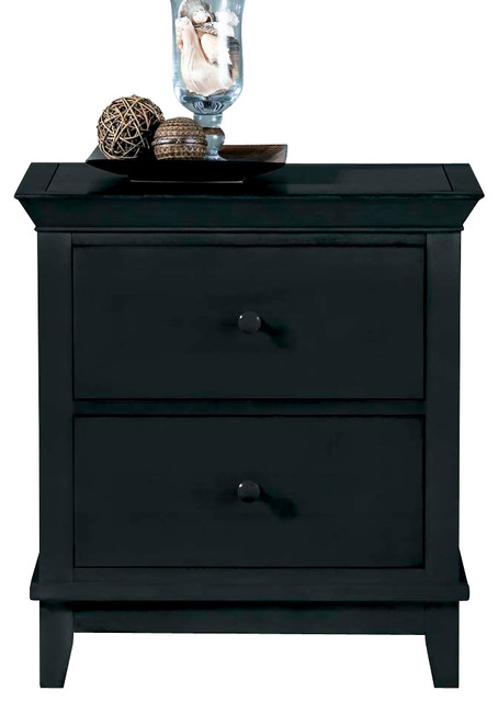 American Drew Sterling Pointe 2-Drawer Nightstand in Black with Cherry Top - Traditional ...