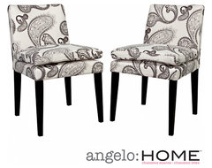 angelo:HOME Marnie Modern Charcoal Black and Cream Paisley Upholstered Dining Ch contemporary-dining-chairs