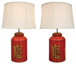 Pair 19th Century Asian Tea Tin Lamps table-lamps