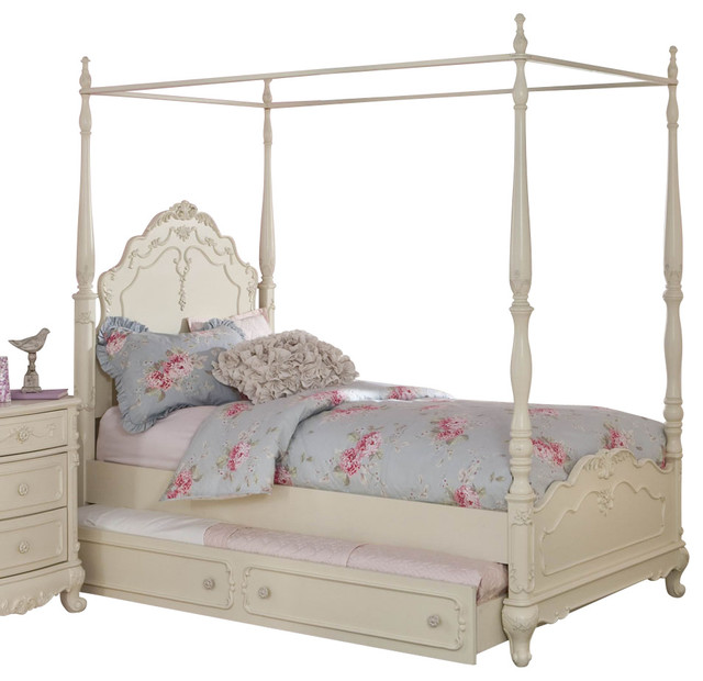 Homelegance cinderella canopy poster bed in antique white for Traditional four poster beds