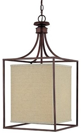 Framed Linen Shade Lantern modern pendant lighting