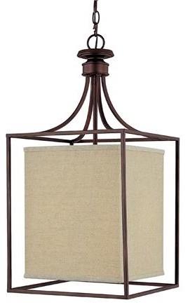 Framed Linen Shade Lantern modern-pendant-lighting