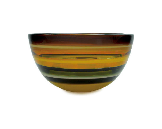 Caleb Siemon Mustard Banded Bowl - Inspired by the rich hues and topography of Southern California, alternating layers of opaque and transparent colors are applied to clear glass. New colors are formed by overlaps, adding depth to the pieces. Simple shapes compliment intense colors. Hand blown and shaped in lead free crystal. Designed by Caleb Siemon. Made in California. Signed.