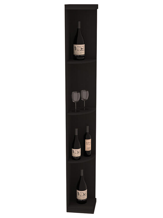 Quarter Round Wine Display in Redwood with Black Stain - Highly decorative Quarter Round Wine Displays are the perfect solution to racking around corners. Designed with a priority on functionality, these wine storage units are excellent as end caps to walls of wine racking or as standalone shelving.