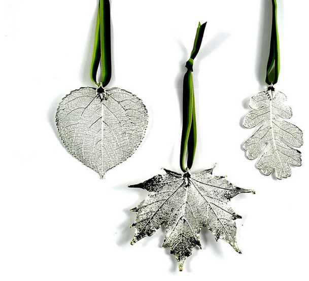 Real Leaf Ornaments Dipped in Precious Metals, Silver, Set ...