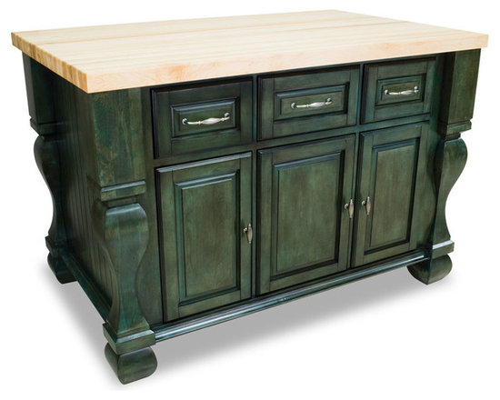 """Inviting Home - Sonoma Kitchen Island (aqua-turquoise) - kitchen island in aqua-turquoise finish; 53-1/2""""W x 33-3/4""""D x 35-1/2""""H; (1-3/4"""" hard maple butcher block top 01 sold separately); Kitchen island features soft-close under-mount slides on drawers soft-close European hinges and fully adjustable shelves. 1-3/4"""" hard maple butcher block top 01 sold separately."""