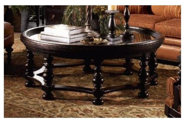 Round Plantation Cocktail Table w Spool Legs - Contemporary - Coffee Tables - by ivgStores