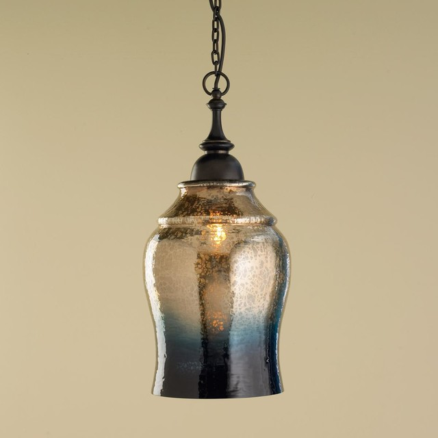 Gold And Indigo Mercury Glass Pendant Light