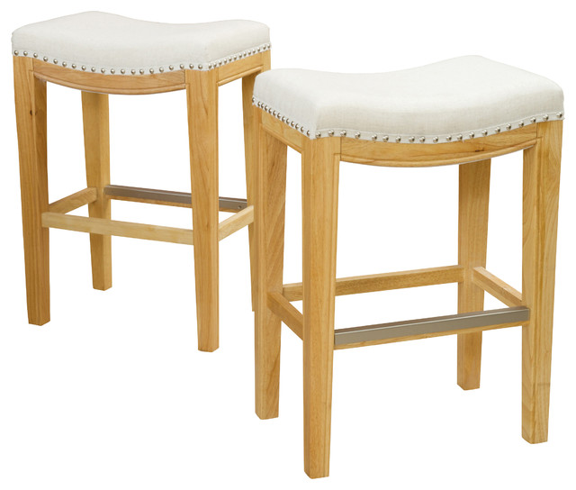 Jaeden Backless Stools Set Of 2 Beige Fabric Counter