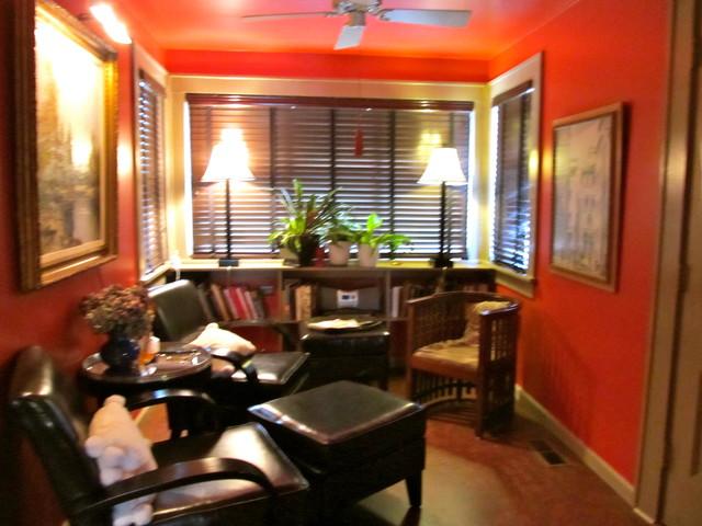 Kitchen Breakfast Room in Red eclectic