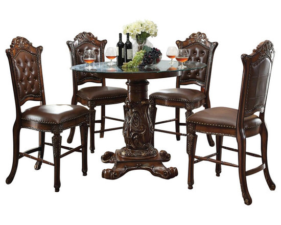 """Acme - 5-Piece Vendome Iii Collection Cherry Finish Wood Detailed Carving Dining Set - 7-Piece Vendome III collection cherry finish wood detailed carving round glass top counter height dining table set with tufted back chairs. This set includes the table and 4 side chairs. Table measures 48"""" Dia. x 36"""" H. Side chairs measure 24"""" H to the seat. Additional chairs also available separately. Some assembly required."""
