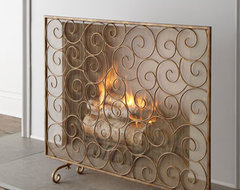 Golden Swirl Fireplace Screen traditional screens and wall dividers