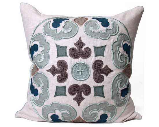 Kathy Kuo Home - Perry Coastal Beach Grey Blue Square Pillow - Hand embroidered pillows in linen and silk are sumptuously oversized and generously filled with down and feathers - tossed on a bed or a gathered on a sofa, create a lasting personal touch.