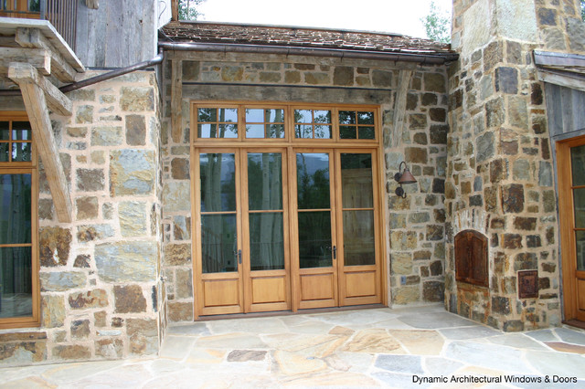 Rustic Wood French Doors with Transom - Rustic - by Dynamic Architectural Windows & Doors