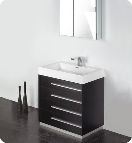 "Fresca FVN8030BW Black Livello Livello 29-3/8"" Wood Vanity With contemporary-bathroom-vanities-and-sink-consoles"