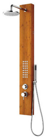 Lumaria Thermostatic Bamboo Shower Panel With Hand Shower and Body Jets - Bamboo contemporary-shower-panels-and-columns