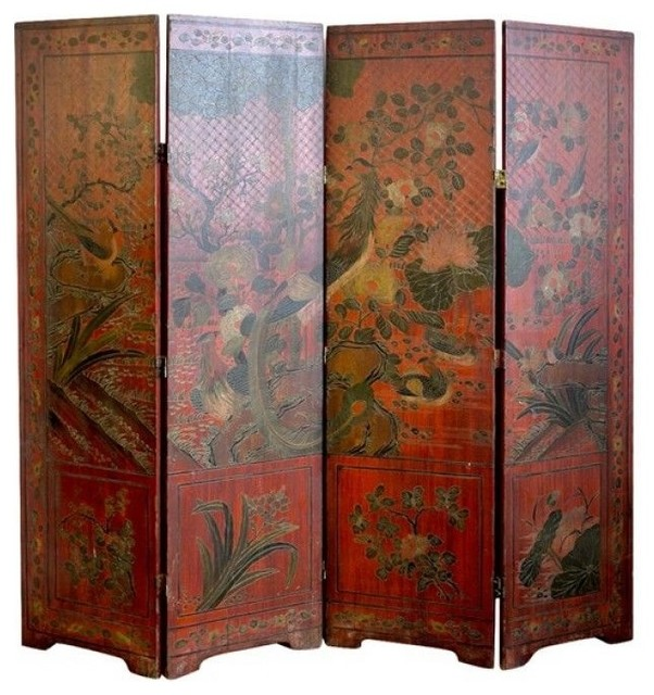 Http Houzz Com Photos 15255264 Antique Chinese Red Coromandel Screen Asian Screens And Room Dividers Other Metro