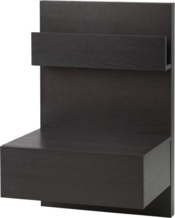 Ikea malm bedside table black brown modern for Ikea platform bed with nightstands