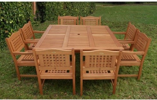 Porto Square Eucalyptus Dining Set - Seats 8 - contemporary