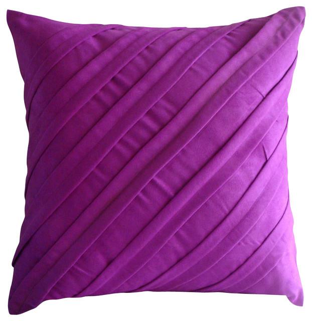 Contemporary Fandango Pink Suede Throw Pillow Cover, 24x24 contemporary-bed-pillows