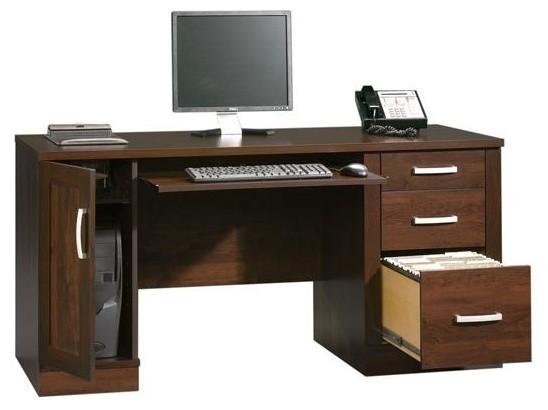 Office Port Computer Credenza in Abbey Oak Fi contemporary-desks