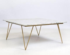 Worlds Away Neal Gold Leafed Coffee Table with White Marble Top traditional coffee tables