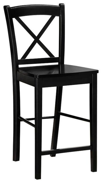 Linon X Back Bar Stool in Black transitional-bar-stools-and-counter-stools