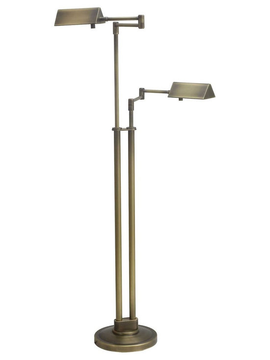 House of Troy Pinnacle Antique Brass Double Floor Lamp - House of Troy (Made in the USA) Antique Brass Double Floor Lamp. Features Full Range Dimmer Switch