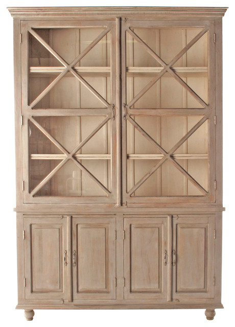 French Country Plantation 2 Door Hutch Cabinet- Large transitional-storage-units-and-cabinets