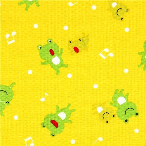yellow froggy fabric by Cosmo from Japan fabric