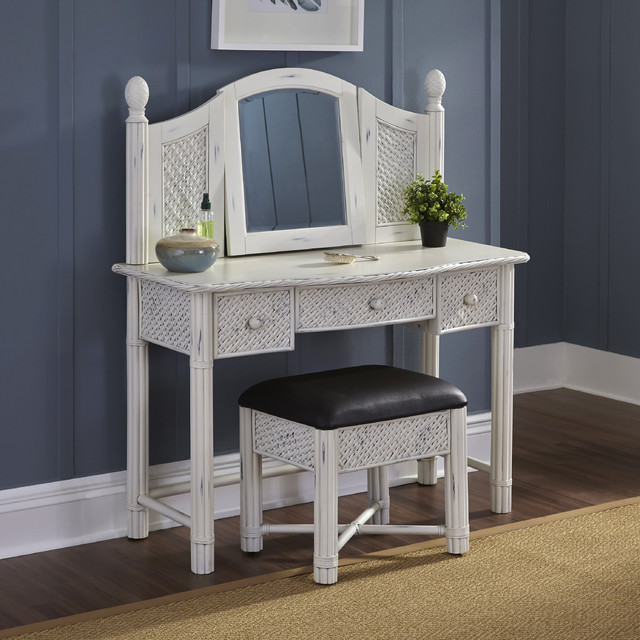 Marco Island Vanity and Bench White Finish contemporary bedroom and makeup vanities - Bedroom Makeup Vanity