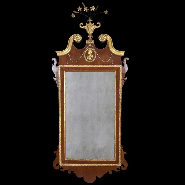 George II Scroll Top Mahogany and Gilt Mirror traditional-wall-mirrors