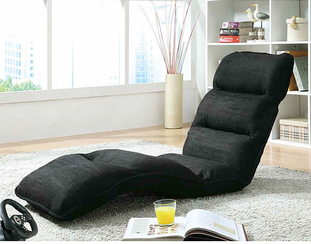Black Microfiber EZ Lounger Click Clack Chair contemporary-indoor-chaise-lounge-chairs