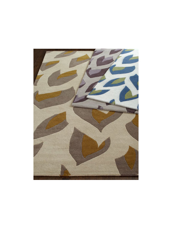 Horchow - Bramble Rug, 5' x 8' - Unique rug features an unusual pattern in unexpected colors to add drama to the room. Select color when ordering. Hand tufted of New Zealand wool. Deep, hand-carved details. Size is approximate. Imported.
