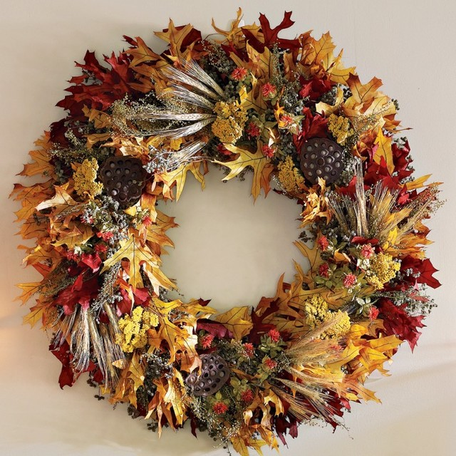 Fall leaf wreath contemporary wreaths and garlands by williams