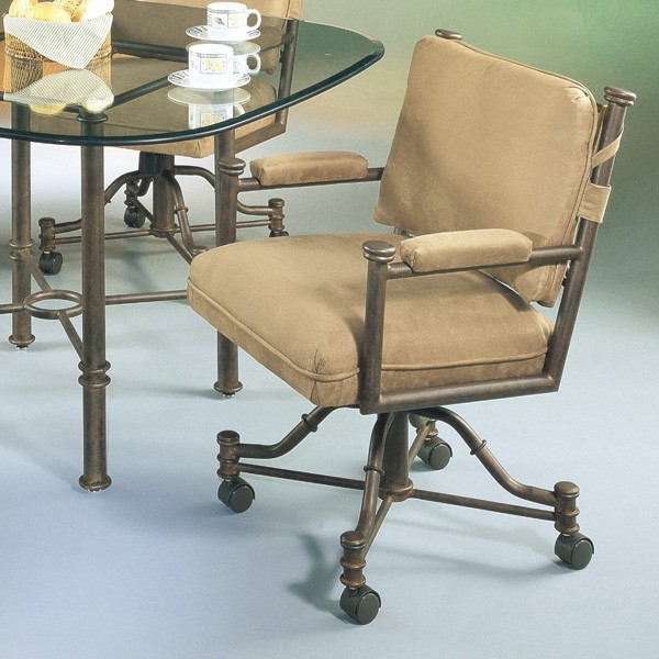 Pastel Furniture - 1478 Caster Chair in Autumn Rust upholstered in Passion Suede traditional-chairs