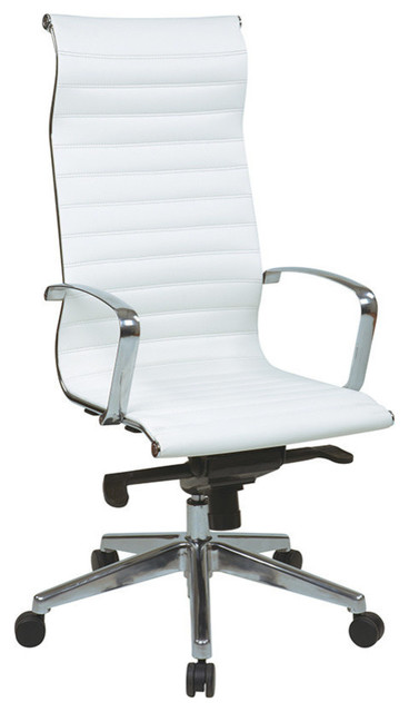 OSP Furniture Hospitality 73023 High Back White Eco Leather Chair contemporary-office-chairs