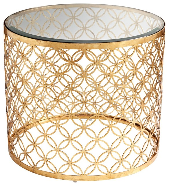 Dante gold leaf iron glass side table traditional dining tables