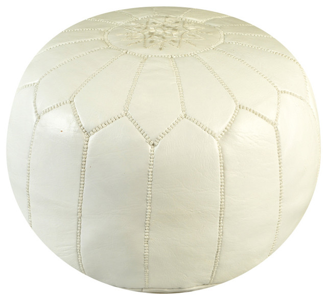 Moroccan White Leather Pouf mediterranean-footstools-and-ottomans