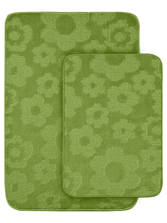 Sands Rug - Petal Lime Green Bath Rug (Set of 2) - Protect young toes and add comfort and color to your child's or pre-teen's bath with these fun, durable and machine washable bath rugs. The polypropylene fabric is stain-resistant and soft, while the non-skid rubber backing holds rugs in place for safety.