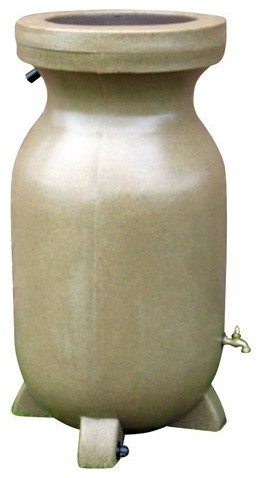 Kyoto 75-Gallon Rain Barrel, Sandstone Finish contemporary gardening tools
