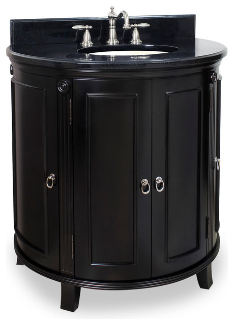 Lyn Design VAN056 T Wood Vanity Black Granite Top Traditional Bathroom V