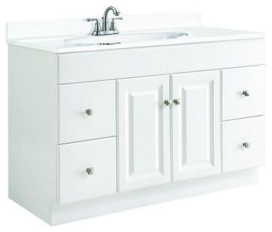 Design House Wyndham 48 in. W x 21 in. D Bathroom Vanity Cabinet Only in White S contemporary-bathroom-vanities-and-sink-consoles