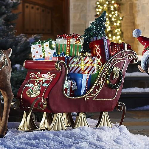 Fiber optic sleigh outdoor christmas decorations for Holiday lawn decorations