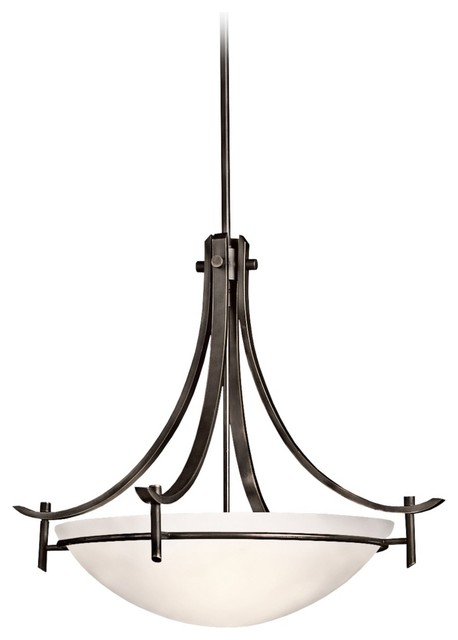 "Arts and Crafts - Mission Kichler Olympia 24"" Wide Olde Bronze Pendant Chandelie traditional-chandeliers"