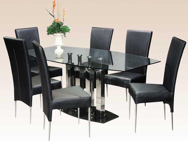 Stylish Clear Glass Top Marble Leather Modern Dinner Table