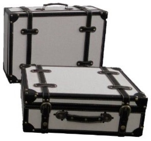 White Fabric Antique Style Suitcase With Stripes traditional storage boxes