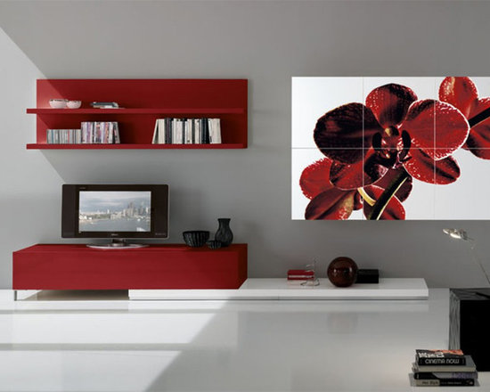 Art Decorated Modern Wall Unit Ronci 5 - $6,646.00 - Modern Wall Unit Ronci 5 - signature models of artist Rossano Ronci. Made in Italy by Gruppo Spar.